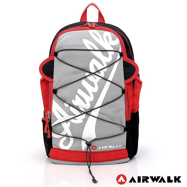 AIRWALK - 斜字LOGO 雙耳綁帶造型AIRWALK後背包 - 灰白色