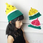 兒童帽 韓版女童秋冬帽子男童西瓜帽寶寶毛線保暖嬰兒兒童尖尖帽潮親子帽 唯伊時尚