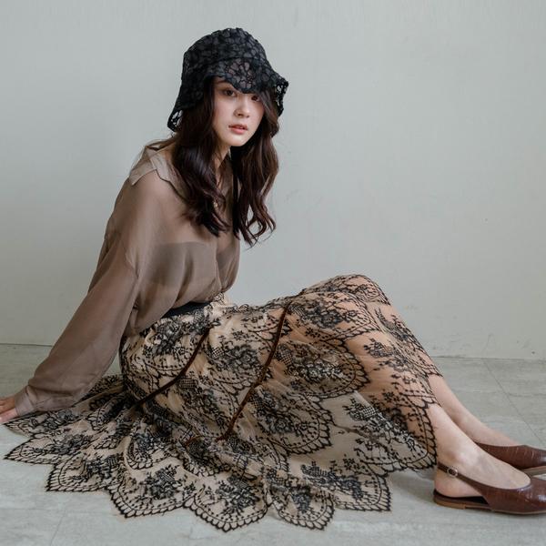MIUSTAR 絕美!鬆緊燒花刺繡雙層蕾絲蛋糕長裙(共2色)【NH1061】預購
