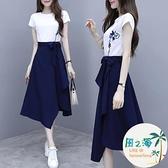 兩件式洋裝 夏裝款連身裙女時尚休閒流行裙女神范套裝短袖T恤百搭兩件套【風之海】