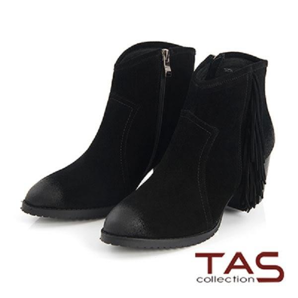 TAS  流蘇擦色麂皮高跟短靴-質感黑