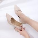 中跟兩穿單鞋女韓版百搭尖頭小皮鞋高跟粗跟半拖女鞋 格蘭小舖