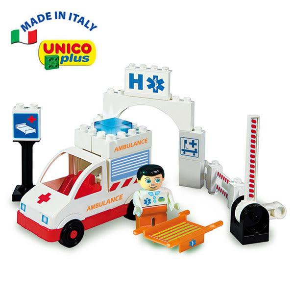 義大利 Unico 主題系列-救護車組/積木-19pcs