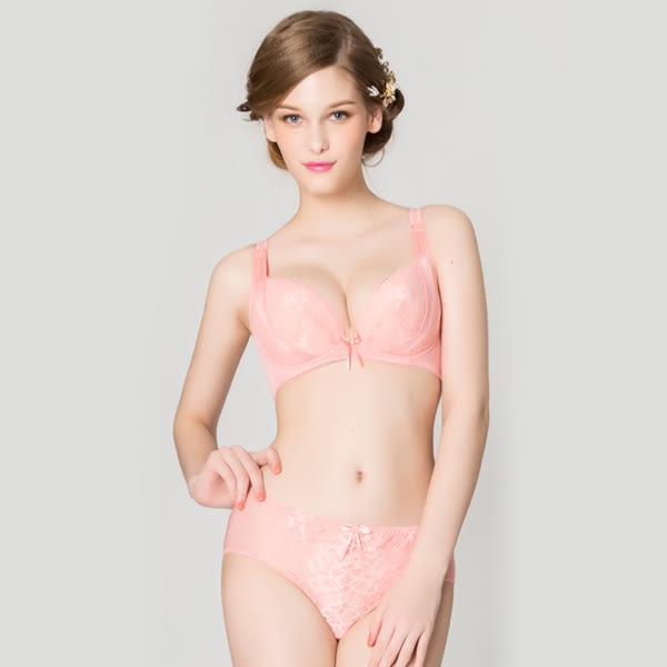 思薇爾-挺美學系列M-XXL蕾絲中腰三角內褲(霓粉橘)