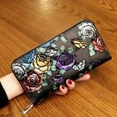 2019新款女士錢包長款拉鏈錢夾真皮多功能皮夾復古大容量女手拿包