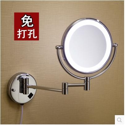 壁掛式帶燈 折疊美容鏡浴室放大伸縮 雙面LED化妝鏡子【免打孔安裝】