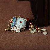 岫玉花朵小發夾成人頭飾半扎發盤發邊夾頂夾民族風發飾復古流蘇女