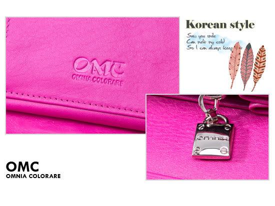 OMC - 韓國專櫃立體抓皺感多卡式真皮長夾-睛漾桃