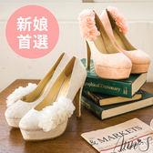 Ann'S Bridal浪漫花語蕾絲訂製婚鞋 米