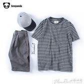 條紋T恤條紋t恤男潮圓領情侶裝夏裝寬鬆日繫短袖黑白T恤 曼莎時尚