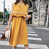 限時38折 韓國風氣質民族風假兩件高腰無袖洋裝