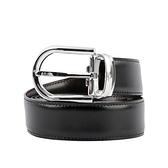 【MONT BLANC】馬蹄型釦雙面可調尺寸商務皮帶(黑色/棕色) 123890