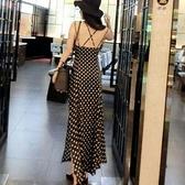 現貨黑M洋裝性感露開叉收腰修身顯瘦波點吊帶長裙18891