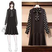 時尚休閒連身裙XL-5XL秋裝新款大碼女裝胖MM减齡百搭波點拼接長袖連衣裙R007-18192