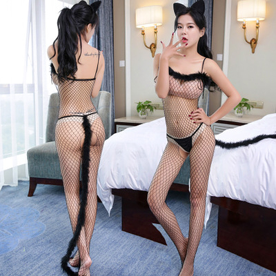 貓女角色扮演服 誘惑貓女開襠式連體網衣遊戲制服3件套裝 ( 高檔品質) ~6026 現貨