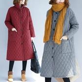 棉麻外套秋冬民族風印花中長款寬鬆大碼加厚長袖棉麻棉衣棉襖外套女保暖 衣間迷你屋
