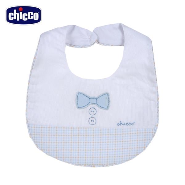 chicco-駕駛小熊-格紋剪接圍兜