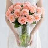 保濕玫瑰仿真花束絹花客廳餐桌裝飾花藝插花假花花卉 HH2203【極致男人】