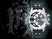 【時間道】POLICE 時尚大錶徑雙時區三眼腕錶/黑白雙色面深藍皮(15406JS-04)免運費
