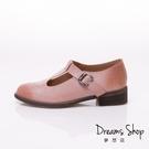 大尺碼女鞋 夢想店 時尚氣質款擦色頭層羊皮復古休閒鞋3.5cm(41-45)【JSP021-3】粉色