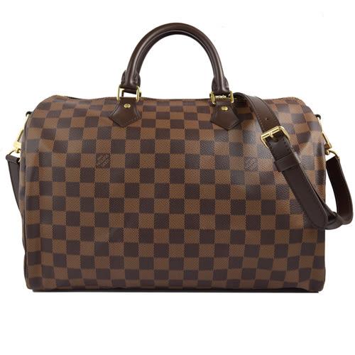 茱麗葉精品 全新精品 Louis Vuitton LV N41366 N41182 Speedy 35 棋盤格紋附背帶手提包(附銷組) 現貨
