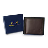 RALPH LAUREN POLO 經典壓印馬球LOGO素面皮革短夾(咖啡色)780215-3