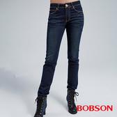 BOBSON 女款保暖布深藍小直筒褲(8052-53)
