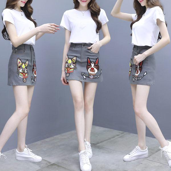 VK旗艦店 韓系純白T恤小狗印花動物紋套裝短袖裙裝