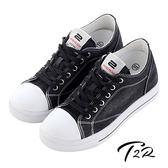 【韓國T2R】經典牛仔隱形增高帆布鞋 ↑7cm 黑(5600-0254)