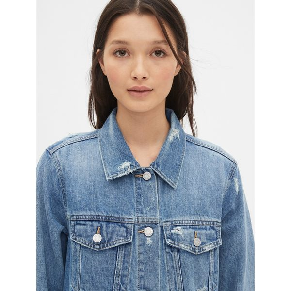 Gap女裝 大廓形做舊紐扣長袖牛仔夾克 491493-中度靛藍