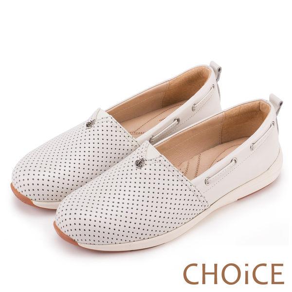 CHOiCE 舒適渡假休閒 牛皮打洞簍空休閒包鞋-白色