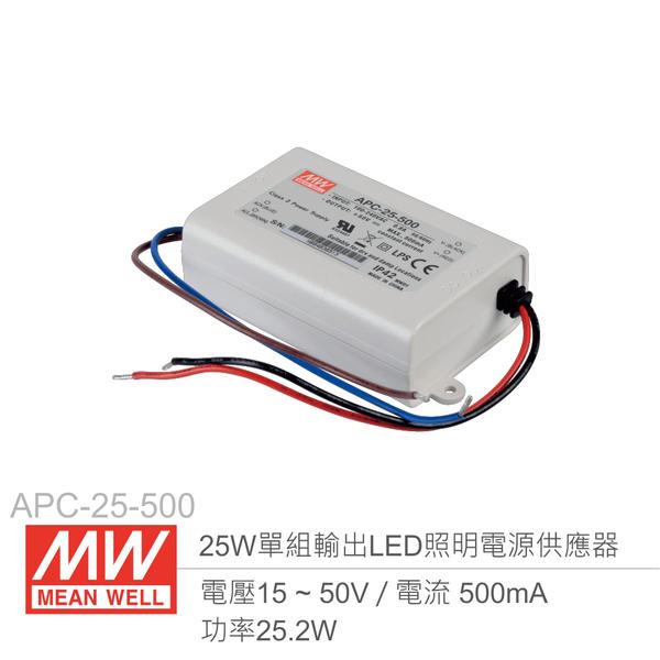 MW明緯 APC-25-500 單組輸出開關電源 0.5A/25W LED 照明專用經濟型恆電流電源供應器 IP42防護等級