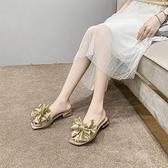 高跟涼拖鞋女夏外穿時尚粗跟平底一字拖蝴蝶結【慢客生活】