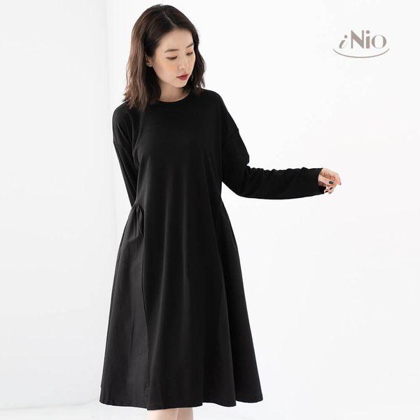 拼接設計連衣裙長袖洋裝(S-L適穿)★ 現貨快出【C8W3119】 iNio 衣著美學
