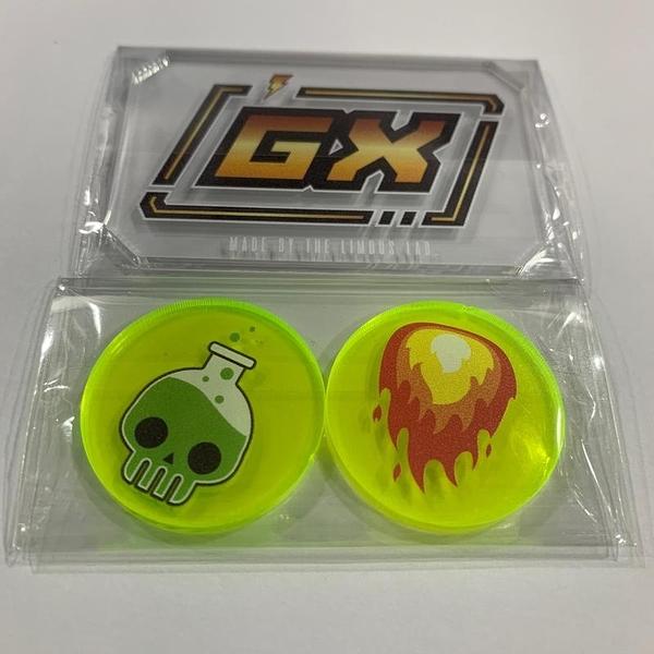 『高雄龐奇桌遊』電系 壓克力GX板 加燒傷中毒指示物組 PTCG 寶可夢遊戲專用 正版桌遊戲專賣店
