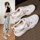 涼鞋包頭女學生韓版小白鞋夏季新款鏤空透氣平底百搭運動涼鞋 快速出貨