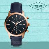 FOSSIL手錶專賣店 FS5436 都會三眼計時男錶 海軍藍錶面 防水50米 全新品 保固