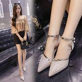 新款韓版尖頭鞋細跟中空涼鞋女中跟單鞋