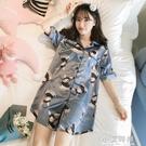睡裙女士夏季冰絲短袖薄款性感睡衣真絲綢學生春秋大碼胖mm200斤【小艾新品】