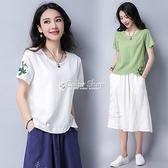 民族風女裝2021夏季新款刺繡花短袖棉麻t恤上衣亞麻白色打底衫女 快速出貨
