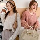 MIUSTAR 花瓣造型領短版混線針織毛衣(共4色)【NH3277】預購