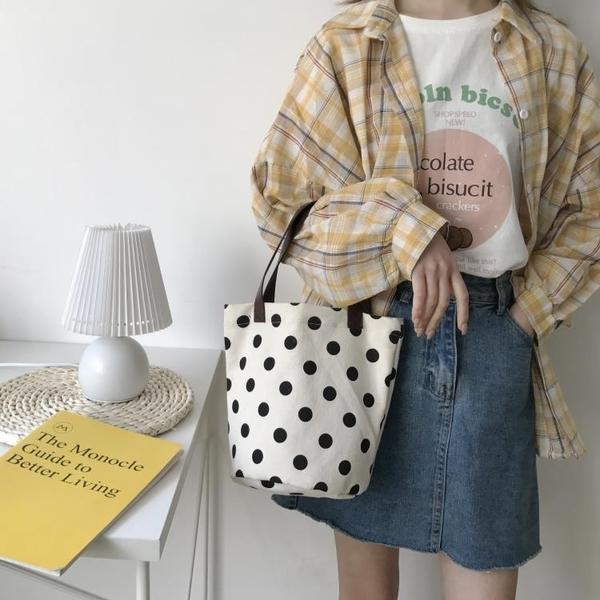 韓國手提小布包上班帶飯手拎飯盒袋簡約百搭便當包ins波點帆布包 「雙11狂歡購」