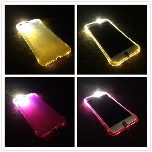 King*Shop~防摔來電閃iPhone6S/7手機殼蘋果6S/7Plus保護套透明硅膠軟殼發光