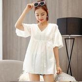 夏季新款孕婦上衣韓版大碼孕婦裝夏裝T恤純棉短袖體恤中長款      芊惠衣屋
