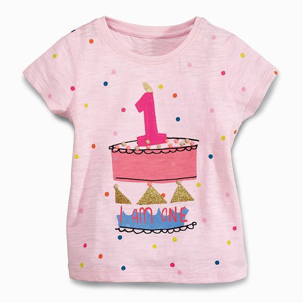 女Baby女童裝短袖T恤粉色第一名印花純棉短袖上衣現貨 歐美品質