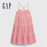 Gap 女童 活力格紋分層式吊帶洋裝 578389-紅色方格花布