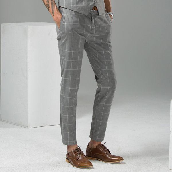男 格紋/休閒褲/西裝褲 L AME CHIC 經典方格紋西裝褲【FBT041101】