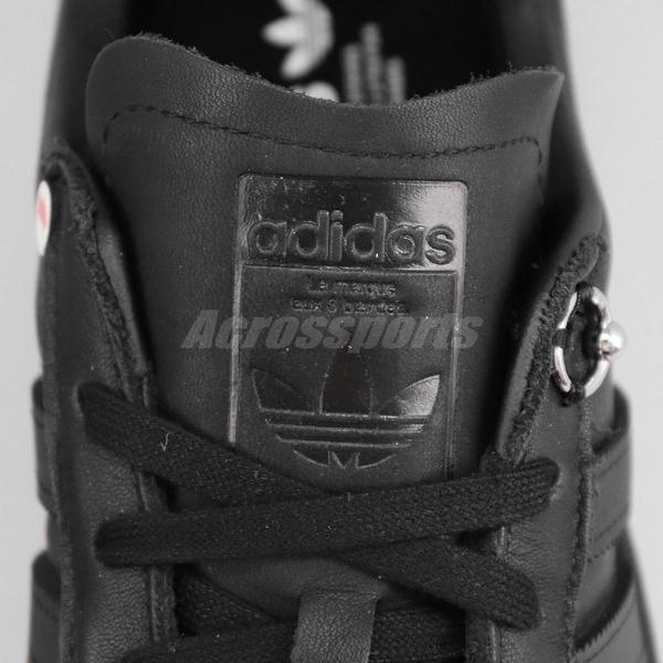 【US11-NG出清】adidas 休閒鞋 032C Campus Prince 黑 全黑 皮革 聯名款 左腳內側少一鞋帶孔 男鞋【ACS】
