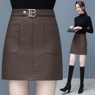 皮裙女半身裙新款高腰a字裙顯瘦PU皮短裙包臀大碼一步裙 快速出貨