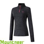 【Mountneer 山林 女款 雲彩針織保暖上衣《黑》】22P16/吸濕排汗/長袖衣